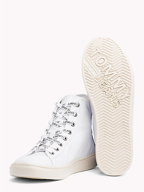 TOMMY JEANS Lightweight Leather High Top Trainers - WHITE - TOMMY JEANS Shoes - detail image 1