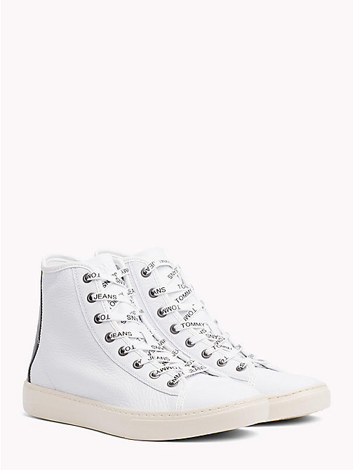 TOMMY JEANS Lightweight Leather High Top Trainers - WHITE - TOMMY JEANS Shoes - main image