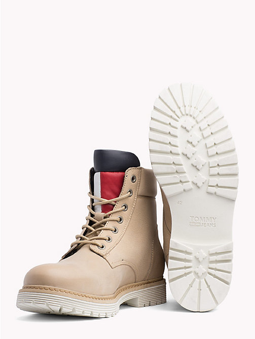 TOMMY JEANS Nubuck Flag Lace-Up Boots - NATURAL -  Shoes & Accessories - detail image 1