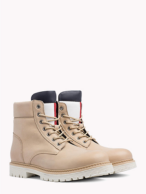 TOMMY JEANS Nubuck Flag Lace-Up Boots - NATURAL -  Shoes & Accessories - main image