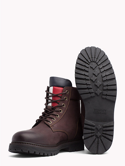 TOMMY JEANS Nubuck Flag Lace-Up Boots - COFFEEBEAN - TOMMY JEANS Shoes & Accessories - detail image 1