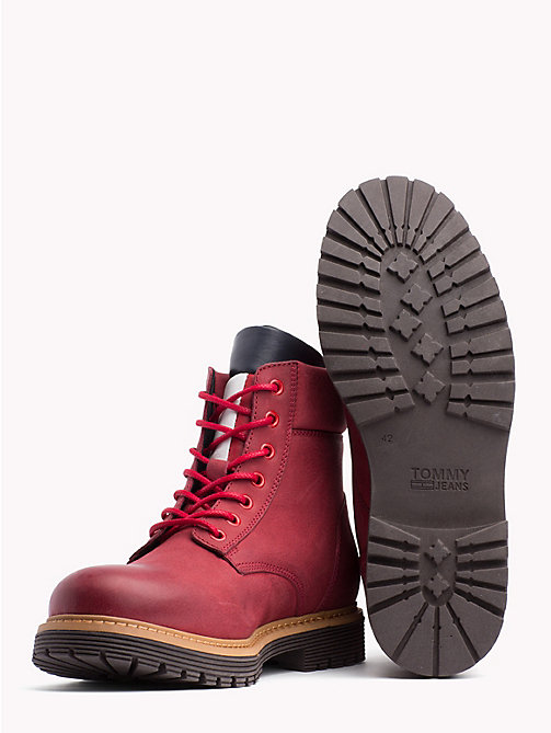 TOMMY JEANS Nubuck Flag Lace-Up Boots - TANGO RED - TOMMY JEANS Shoes - detail image 1