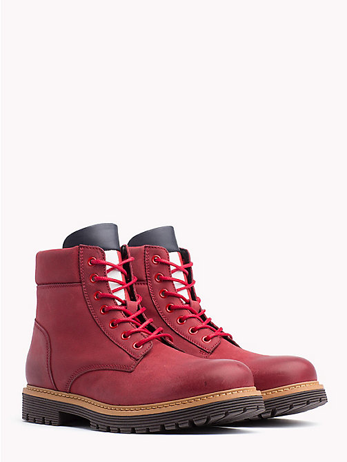 TOMMY JEANS Nubuck Flag Lace-Up Boots - TANGO RED - TOMMY JEANS Shoes & Accessories - main image