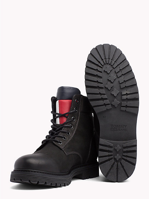 TOMMY JEANS Nubuck Flag Lace-Up Boots - BLACK - TOMMY JEANS Shoes - detail image 1