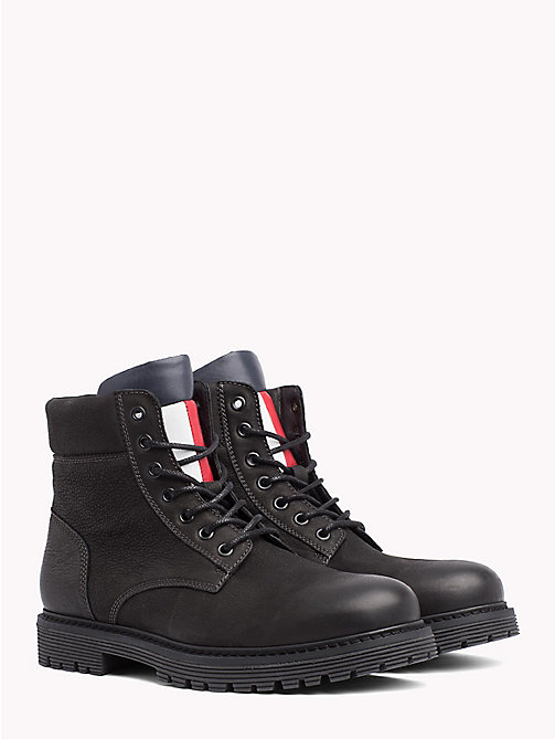 TOMMY JEANS Nubuck Flag Lace-Up Boots - BLACK - TOMMY JEANS Shoes - main image