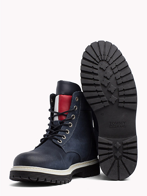 TOMMY HILFIGER Suede Flag Worker Boots - INK - TOMMY JEANS Shoes & Accessories - detail image 1