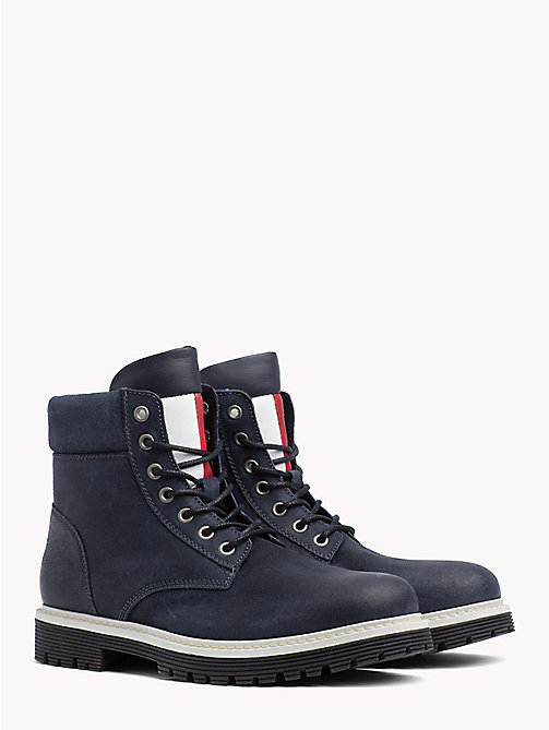 TOMMY HILFIGER Suede Flag Worker Boots - INK - TOMMY JEANS Shoes & Accessories - main image