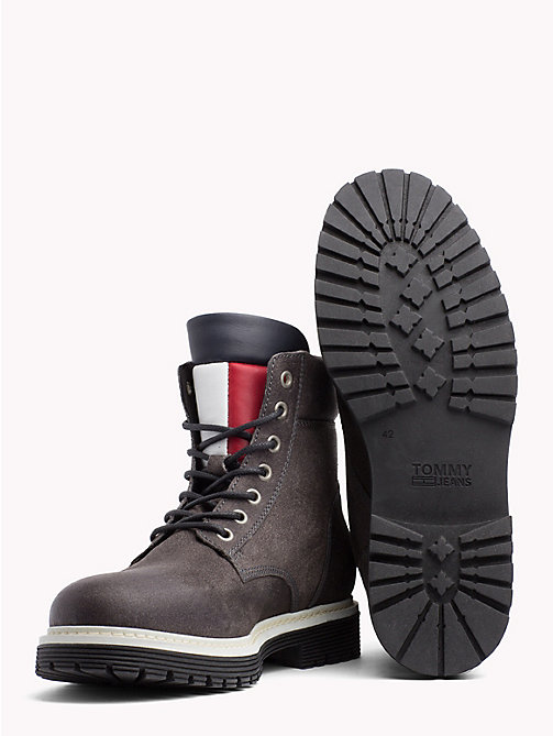TOMMY HILFIGER Suede Flag Worker Boots - STEEL GREY - TOMMY JEANS Shoes & Accessories - detail image 1