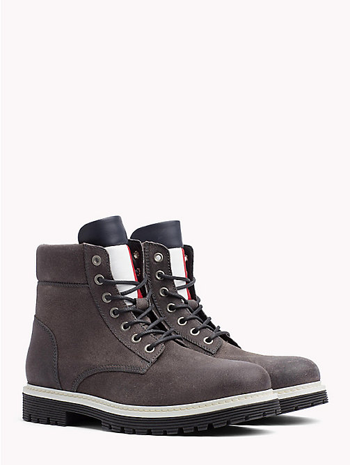 TOMMY JEANS Suede Flag Worker Boots - STEEL GREY - TOMMY JEANS Shoes & Accessories - main image