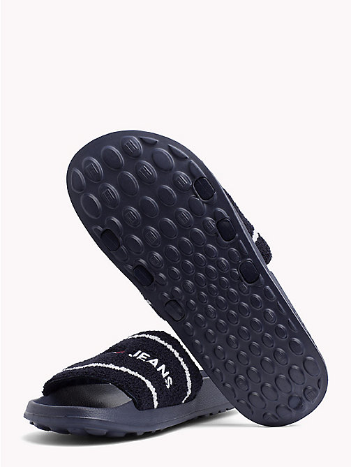 TOMMY JEANS Embroidered Terry Beach Sliders - BLACK IRIS - TOMMY JEANS Shoes - detail image 1