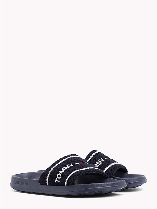 TOMMY JEANS Embroidered Terry Beach Sliders - BLACK IRIS - TOMMY JEANS Summer shoes - main image