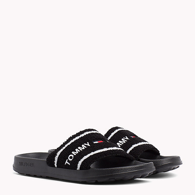 TOMMY JEANS Embroidered Terry Beach Sliders - BLACK IRIS - TOMMY JEANS Men - main image