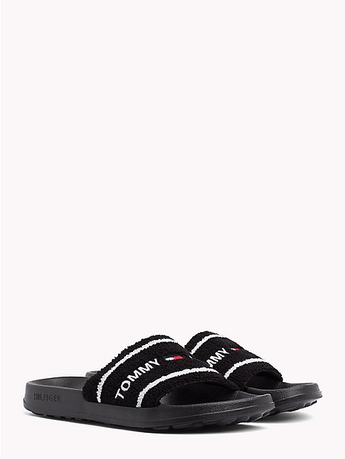 TOMMY JEANS Embroidered Terry Beach Sliders - BLACK - TOMMY JEANS Festivals Season - main image
