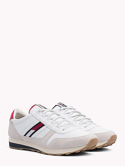 TOMMY JEANS Retro Suede Running Trainers - WHITE - TOMMY JEANS Shoes & Accessories - main image