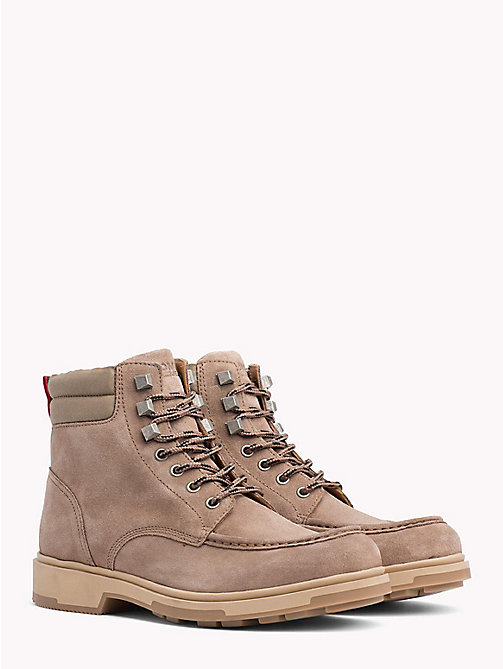 TOMMY JEANS Suede Lace-Up Ankle Boots - COBBLESTONE - TOMMY JEANS VACATION - main image