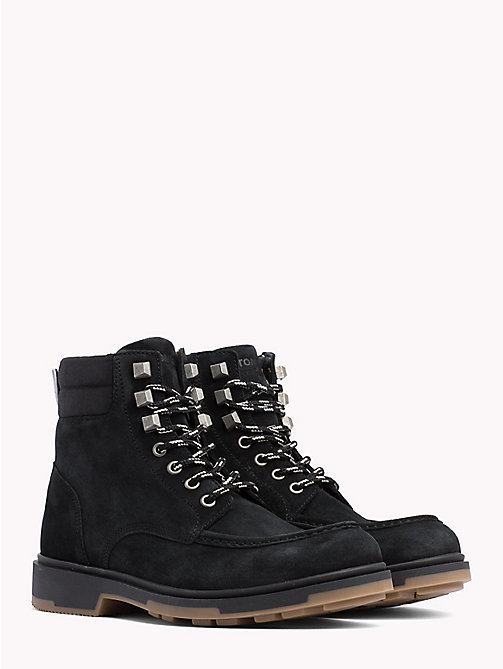 TOMMY JEANS Suede Lace-Up Ankle Boots - BLACK - TOMMY JEANS Shoes - main image