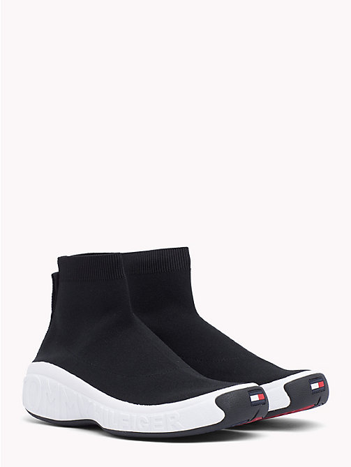 TOMMY JEANS Knitted High-Top Trainers - BLACK - TOMMY JEANS VACATION FOR HER - main image