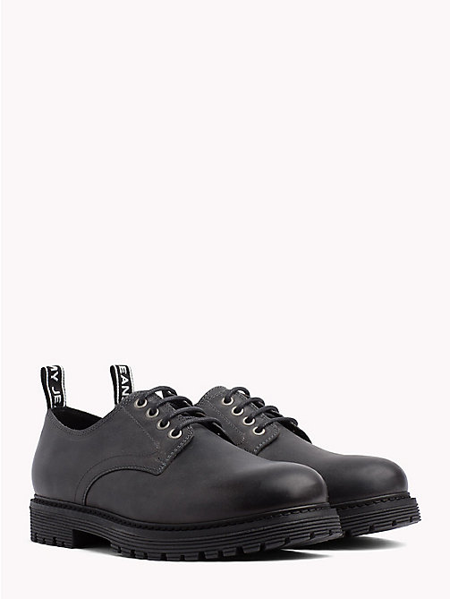 TOMMY JEANS Leather Lace-Up Shoes - MAGNET - TOMMY JEANS Shoes - main image