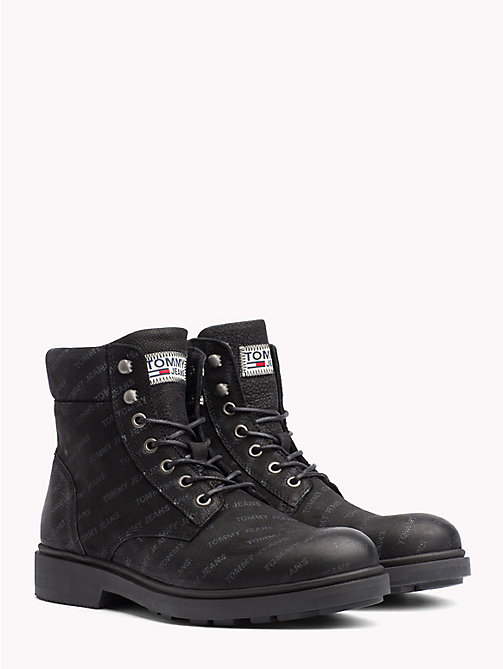 TOMMY JEANS Repeat Logo Nubuck Boots - BLACK - TOMMY JEANS Sustainable Evolution - main image