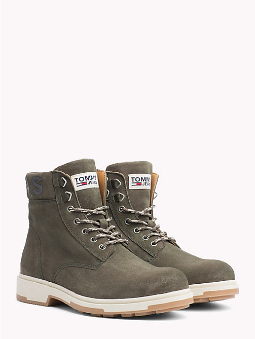 TOMMY JEANS Pure Suede Logo Ankle Boots - FOREST NIGHT - TOMMY JEANS Sustainable Evolution - main image