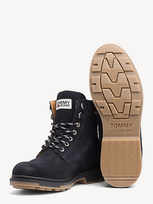 TOMMY JEANS Pure Suede Logo Ankle Boots - BLACK IRIS - TOMMY JEANS Sustainable Evolution - detail image 1