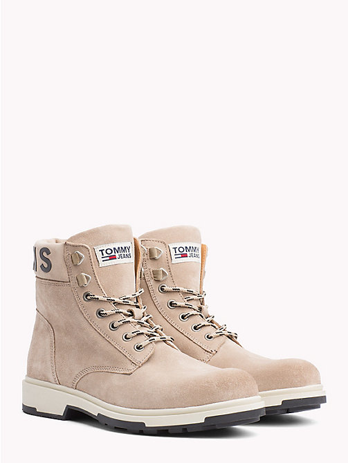 TOMMY JEANS Pure Suede Logo Ankle Boots - DESERT SAND - TOMMY JEANS Sustainable Evolution - main image