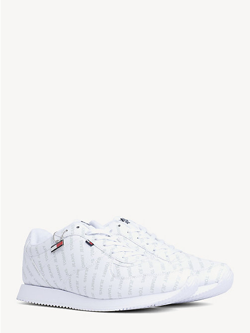 TOMMY JEANS All-Over Logo Lace-Up Trainers - WHITE - TOMMY JEANS NEW IN - main image