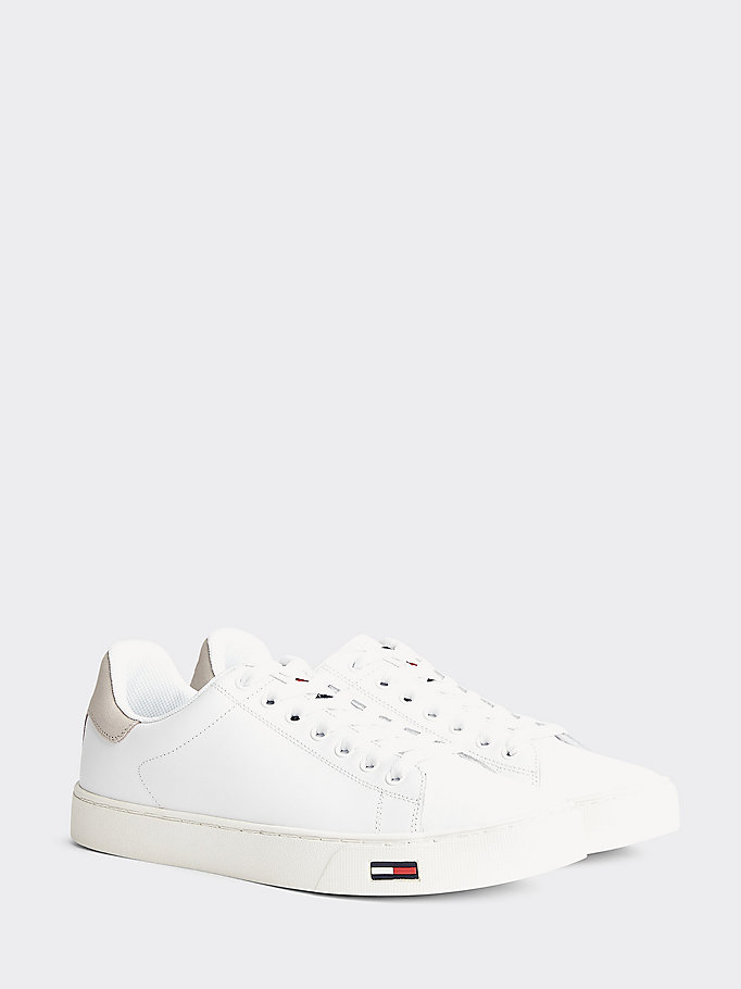 white essential tommy flag leather trainers for men tommy jeans