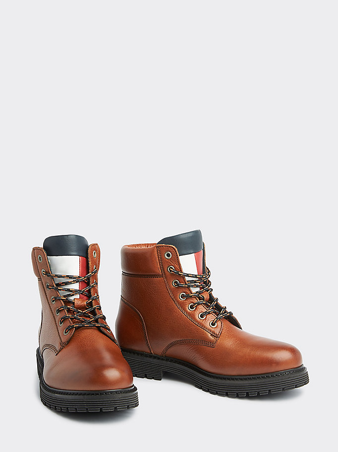 brown lace-up outdoor boots for men tommy jeans