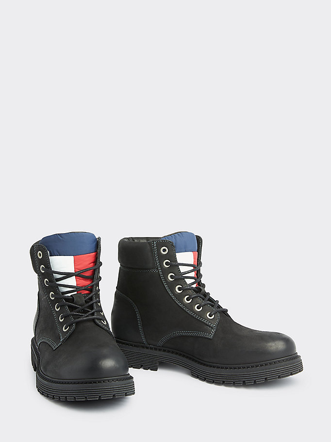 black nubuck leather lace-up boots for men tommy jeans