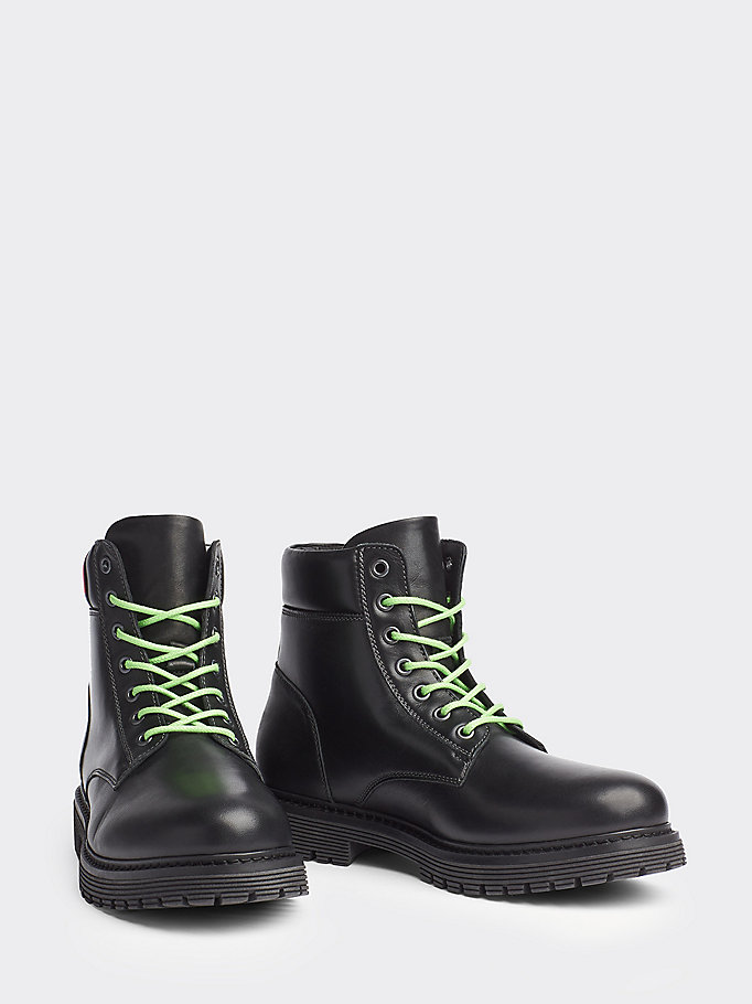 black heritage leather boots for men tommy jeans