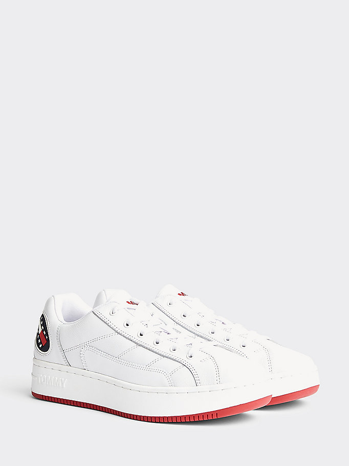 white heritage cupsole trainers for men tommy jeans