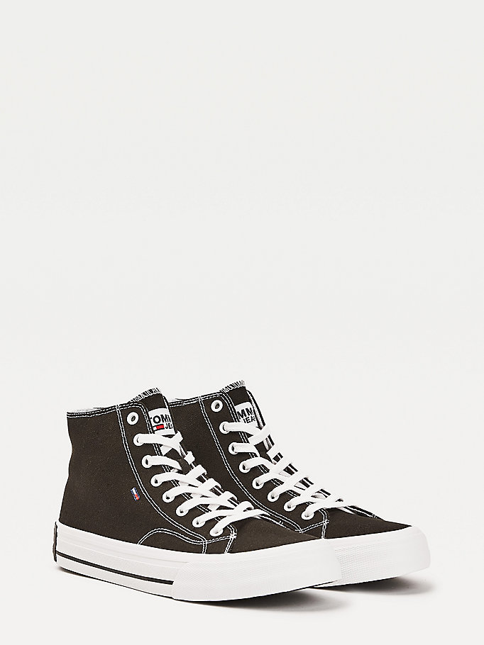 black mid-top flag trainers for men tommy jeans