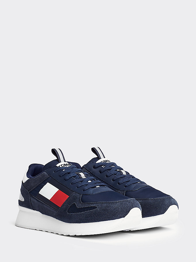 blauw colour-blocked sneaker voor heren - tommy jeans