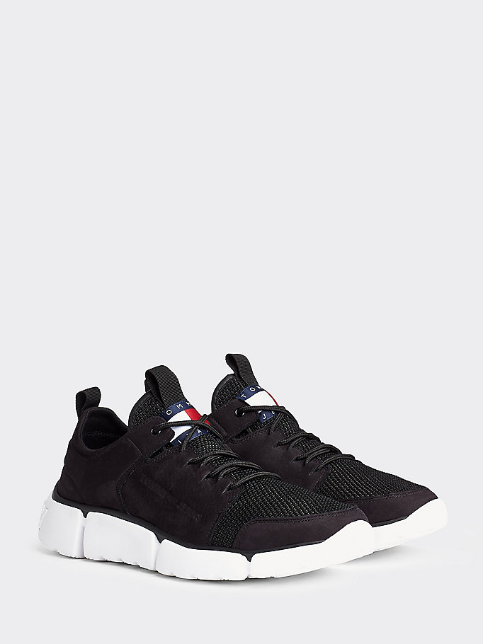 black chunky leather trainers for men tommy jeans