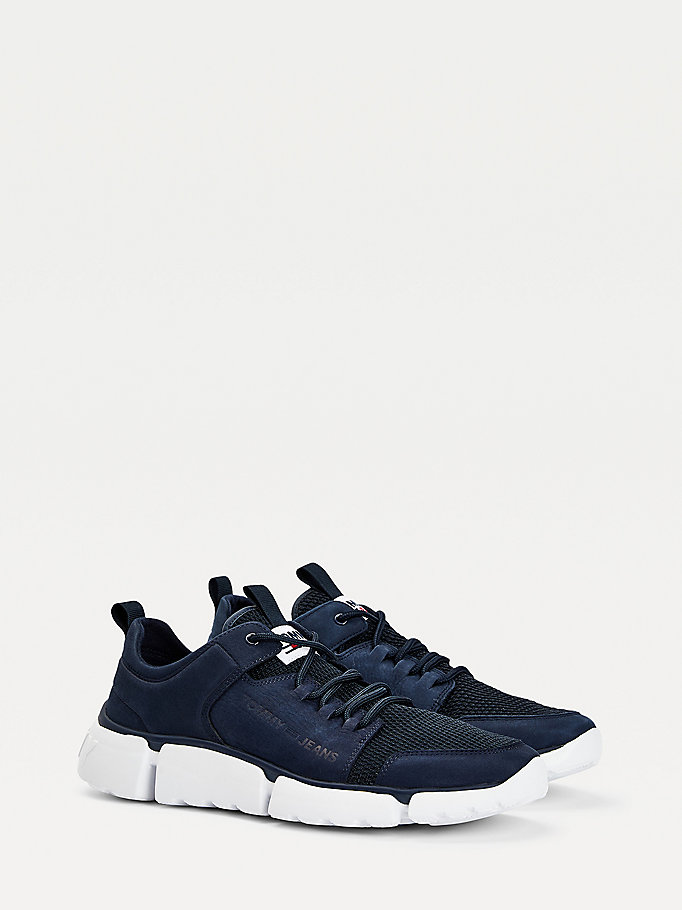 blue chunky leather trainers for men tommy jeans