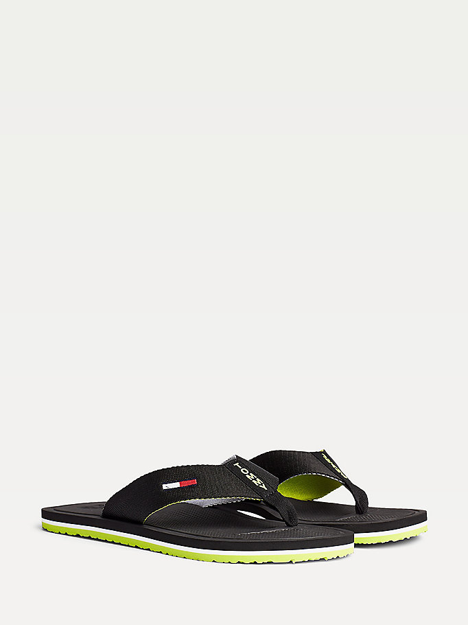 black comfort footbed logo flip flops for men tommy jeans
