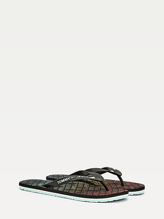 black repeat logo print flip flops for men tommy jeans