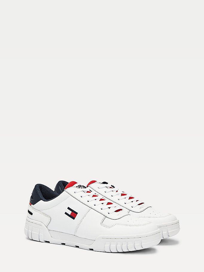 white retro lace-up leather trainers for men tommy jeans