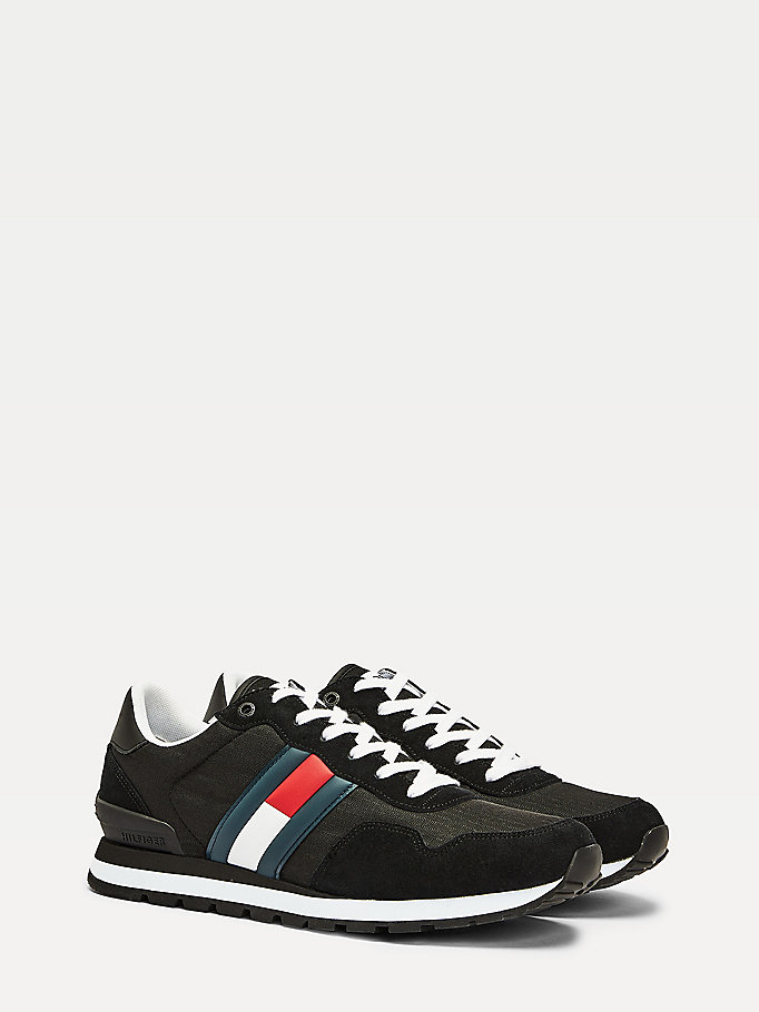 black suede mix running trainers for men tommy jeans