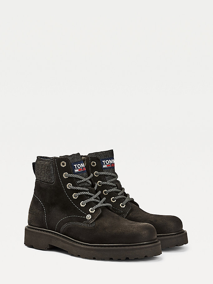 black suede lace up boots for men tommy jeans