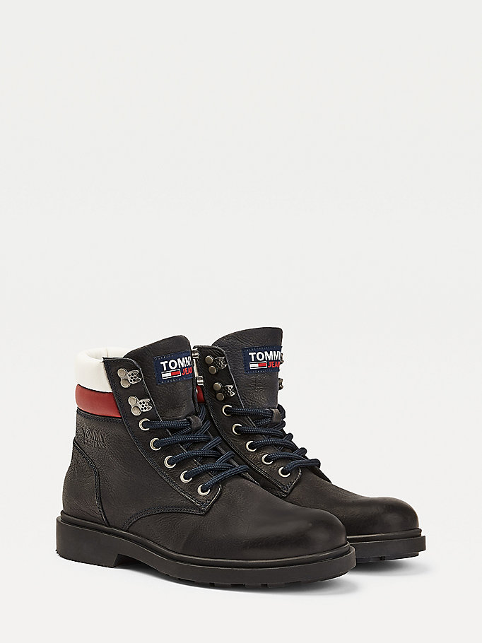 white padded ankle lace up boots for men tommy jeans