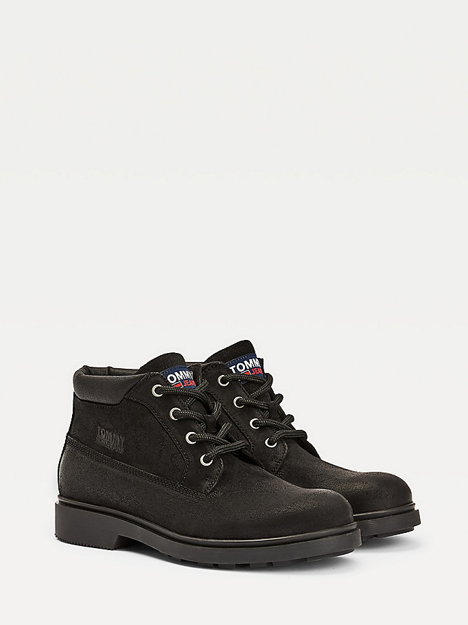 black low cut suede lace up boots for men tommy jeans