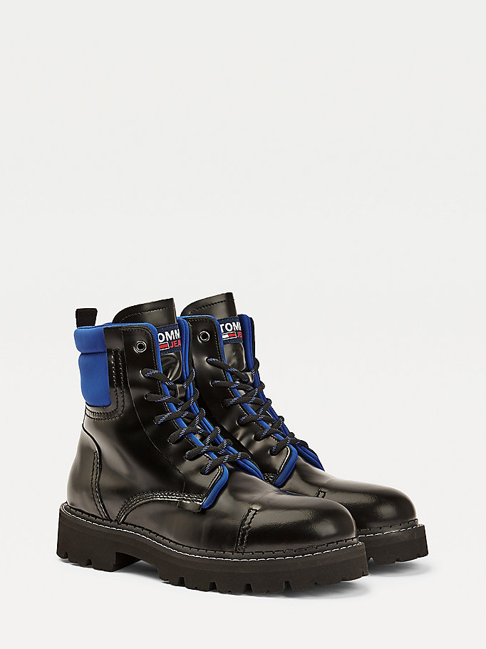 black pop colour lace up ankle boots for men tommy jeans