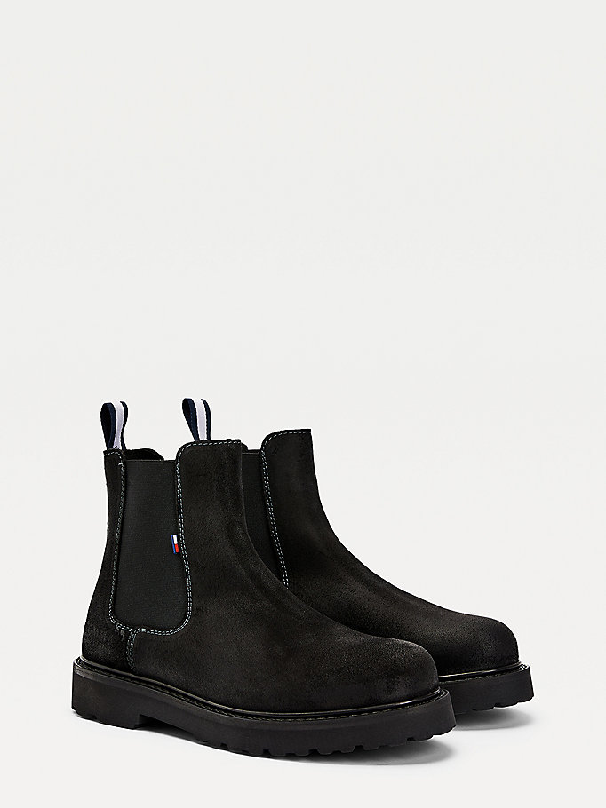 black suede chelsea boots for men tommy jeans