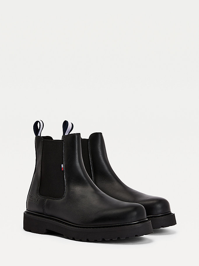 black leather chelsea boots for men tommy jeans
