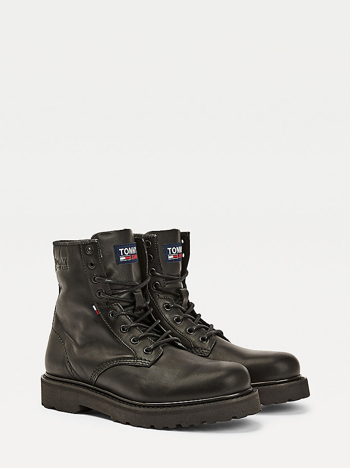 black leather lace up boots for men tommy jeans