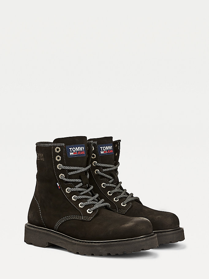 black warm lined lace-up boots for men tommy jeans