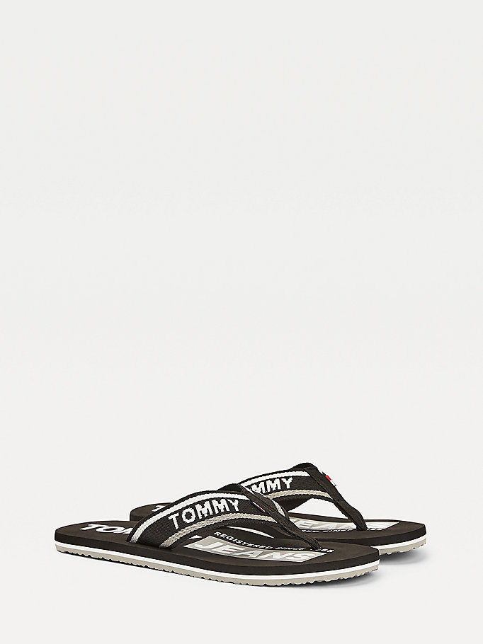 black contrast logo flip-flops for men tommy jeans