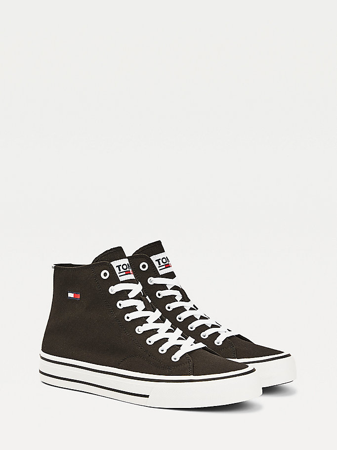 black mid-top cotton trainers for men tommy jeans